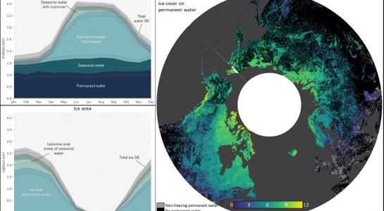 Global seasonal dynamics of inland water and ice